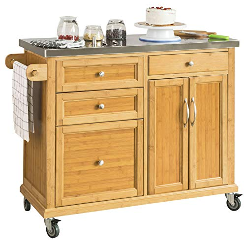 SoBuy® Luxus-Carrito de cocina con piso de acero, estantería de cocina, carrito de servir de bambú de alta calidad L115 x P46 x H92cm, FKW70-N.ES