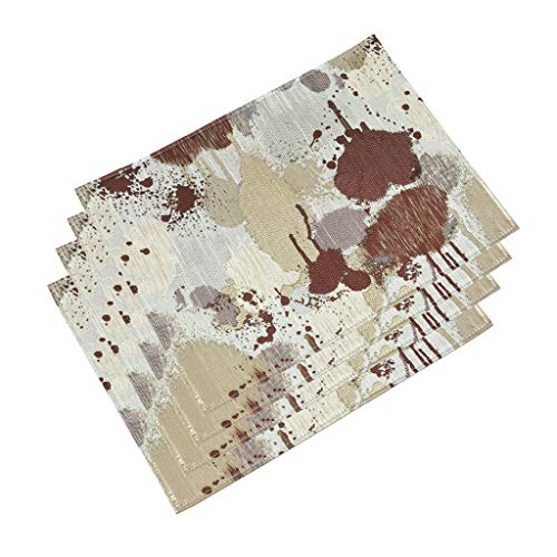 HAOXIANG Heat-Resistant Placemats, Set of 4 Washable Stain Resistant Anti-Skid Polyester Place Mats for Kitchen Dining Table Decoration, 15.7 X 11.8 Inchs,Brown