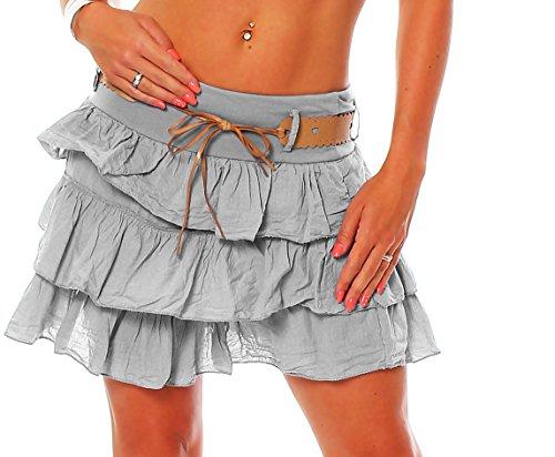 Zarmexx Gonna con balze da donna, estiva, con cintura, in cotone grigio chiaro Taglia unica