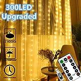 Window Curtain Lights 300 LED Upgraded Bigger Bulbs USB Plug in Fairy Lights 8 Modes...