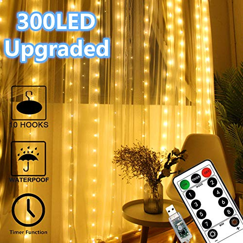 Window Curtain Lights 300 LED Upgraded Bigger Bulbs USB Plug in Fairy Lights 8 Modes Remote Control Curtain String...