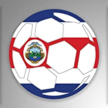 JMM Industries Costa Rica Soccer Ball Flag Vinyl Decal Sticker Car Window Bumper 2-Pack 4-Inches Round Premium Quality UV-Resistant Laminate PDS679