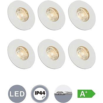 6er Set LED Bade Zimmer Decken Einbau Leuchten weiß Außen Spot Lampen Glas rund