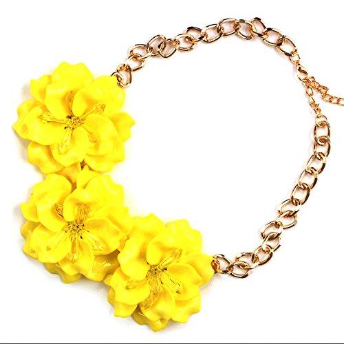 Claire Jin Collares Flores Cadena Corto Gargantilla Collar Mujer Joyería Flor Accesorio de Fiesta 12 Colores