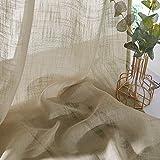 PONY DANCE Cortinas Translucidas Visillos Ligeros con Ollaos de Color Lavables en Agua 132 CM de Ancho, 158 CM de Largo, 2 Partes Marrón Claro