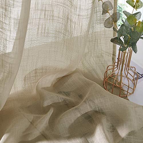 PONY DANCE Leinenoptik Vorhänge Halbtransparent - Voile Gardinen für Sonnenlicht Filtern & Privatsphäre Schützen Ösenvorhang Taupe, 2er Set H 158 x B 132 cm
