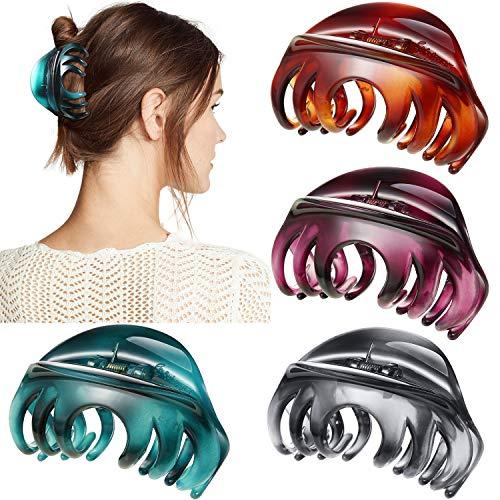 4 Stücke Haarklaue 4 Zoll Große Haarklauen Haargriff, Hübsche Haarspange Große Haarspangen für Dickes Haar Frauen und Mädchen