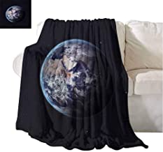 Warm Microfiber Blanket Planet Earth Outer Space Scenery of Globe Light Years Orbit Discovery Artprint Dark Blue Grey Elegant and Comfortable 60x51 Inch