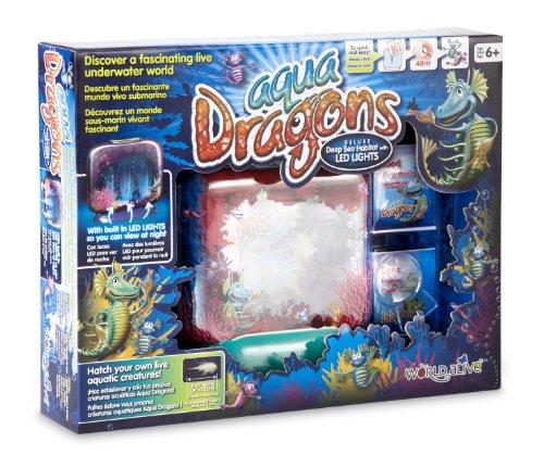 Aqua Dragons 4003 Unterwasserwelt, Deluxe-Tiefsee-Aquarium mit LED-Leuchten, in Box-Kit-Verpackung Brüte Deine eigenen LEBENDEN Wassertiere aus und züchte sie auf, Mehrfarbig