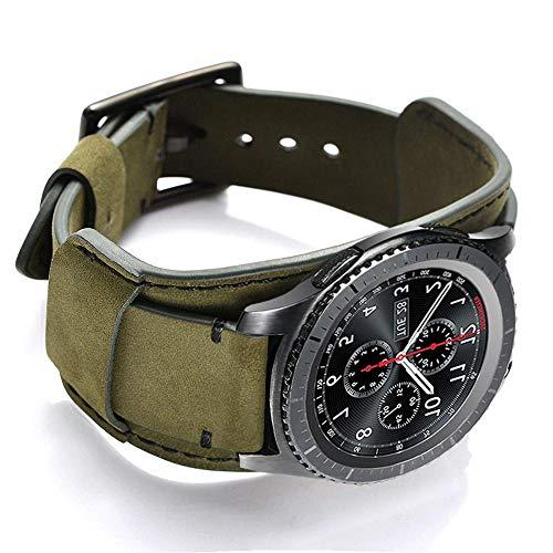 CooBES Correa Compatible con Samsung Galaxy Watch 42mm/Active/Active 2 40/44mm/Gear S2/Gear Sport, 20mm Pulsera de Repuesto Cuero Banda de Bucle Acero Inoxidable para Mujeres Hombres (Verde)