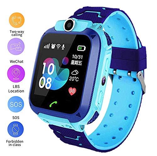 linyingdian Smartwatch-kinderen, Smart Watch-kinderen met 1,44 volledig touchscreen, LBS-locatorflitslicht, oproep, SOS, camera, games en wekker, cadeau voor jongensmeisje 3-12 jaar (blauw)