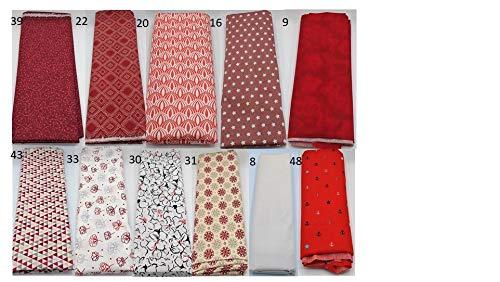 Stoffpaket rot verschiedene Größen Baumwolle Stoffreste Webware Patchen Patchwork Baumwollstoff Restepaket unifarben einfarbig uni Mandala Bohemian Anker maritim Blumen floral beige creme weinrot