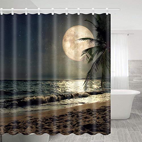 Lierpit Moon Shower Curtains Full Moon Over Sea Ocean Clouds Shower Curtain Nautical Beach Bath Curtains Decor Set Polyester 69 X 70 Inches