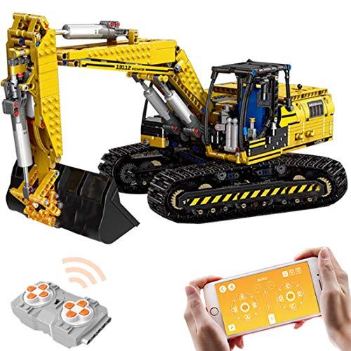 WEEGO Excavadora de 1830 piezas 2,4 G RC, excavadora de orugas con mando a distancia, juego de construcción con 6 motores, compatible con Lego Technic