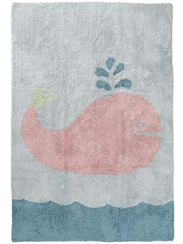 Benuta Alfombra Infantil Bambini Whale, algodón, Azul, 120 x 180 x 2 cm