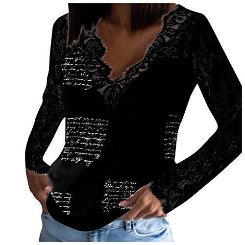 KYBA Pullover Damen Tunika Einfarbig Mit V-Ausschnitt Bluse Spitze Langarmshirts Slim Fit Shirts Sexy Oberteile Damen Baumwolle Bluse Tshirt Tops