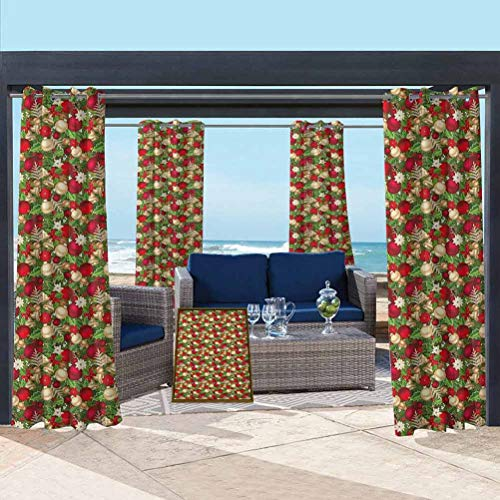 ParadiseDecor Christmas Semi-Sheer Drape for Front Porch/Garden Tree Branches Balls Bells Cones Poinsettia Flowers Mistletoe Berry Gold White Red and Green 108W x 96L Inch