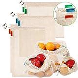 Meiruier Bolsa Reutilizable Algodon de Vegetales,Bolsa de malla lavable,Bolsas Reutilizables Compra, Bolsas de Malla Transpirables Adecuado para Frutas y Verduras Productos Frescos (6pc(2*S/2*M/2*L))