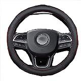 Funda de piel para volante de coche, para mayor durabilidad y seguridad, adecuada para hombres y mujeres, 2 colores, color rojo