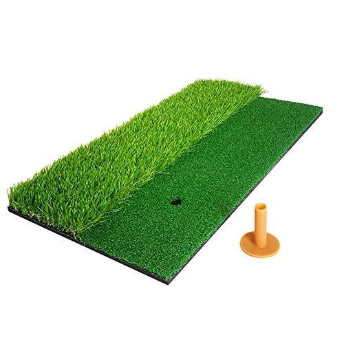 POOPFIY 2 in 1 Golf Schlagen Mat Mini Fairway Schlagen Gras-Matten-Trainingshilfen für Wohn Hinterhof/Indoor Praxis Turf Anti-Rutsch-Gummi-Sohle