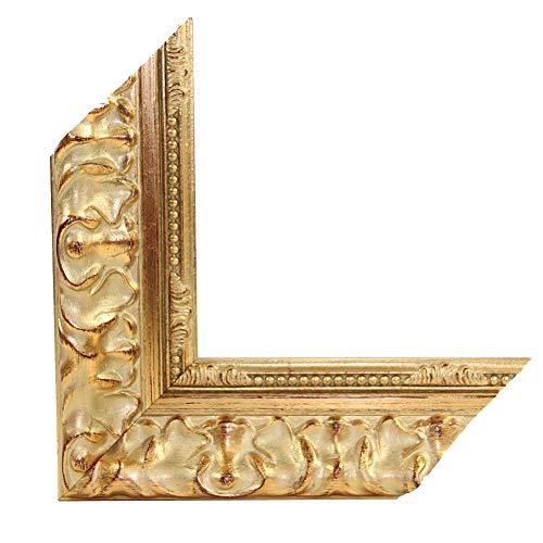 OLIMP-15 Bilderrahmen 33x95 cm Echtholz Barock in Farbe Antik Gold Glänzend
