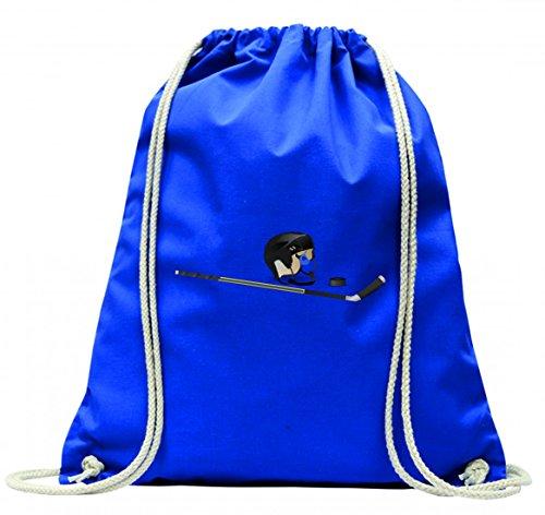 'Turn Bolsa 'Puck palo de hockey de Juego de casco de hockey sobre hielo de juegos de deportes con cordón–100% algodón de bolsa Con Asas De Mochila de bolsa de deporte, azul