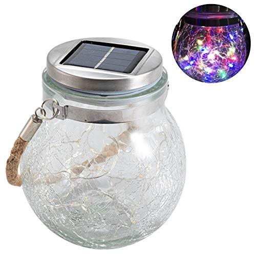 kdjsic Bombilla de luz Solar Tarro de Cristal con Grietas Gruesas Farolillos solares LED Lámpara de decoración Impermeable para Colgar al Aire Libre para jardín Patio