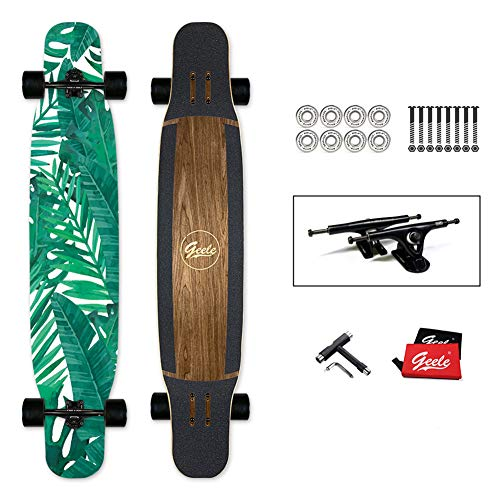 YJCol Longboard 117x24cm Skateboard, inkl. T-Tool mit Hochgeschwindigkeits-ABEC-Lagern, Pro Anfänger Dance Board für Cruising, Carving, Free-Style und Downhill Skateboard,Banana Leaf