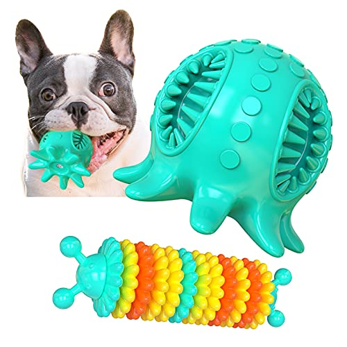 Dog Chew Toys for Teeth Cleaning,Squeaky Octopus Shape Interactive Dog Treat Ball and Toothbrush Toy for Small Medium Breed Dogs