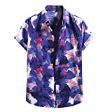 Womteam Camisa hawaiana para hombres de moda algodón lino impresión manga corta botón blusa blusa top botón blusa