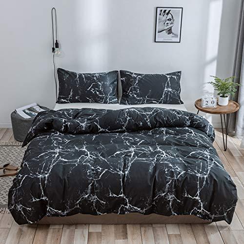 TT Global - Funda de edredón de algodón puro mármol estampado, 240 x 220 cm, 3 piezas, juego de funda de edredón y 2 fundas de almohada, color negro a mármol