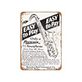 DKISEE Retro Tin Sign 1928 Buescher Saxophones Vintage Metal Sign Decorative Aluminum Sign Wall Sign Plaque...