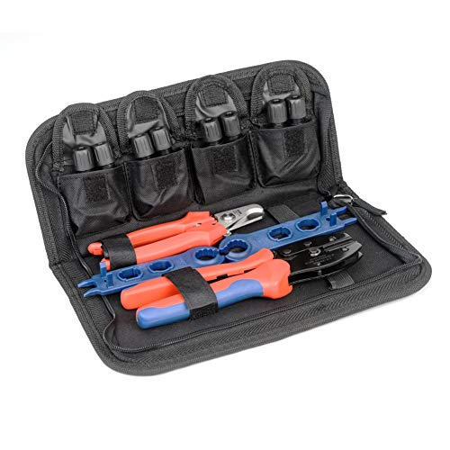 IWISS MC4 Solar PV Panel Crimping Tool Kit with Wire Cutter MC4 Spanner and MC4 Connectors