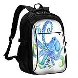 Nicokee Watercolor Octopus USB Laptop Daypack Devilfish Tentacles Animal Monster Ocean Marine Underwater Travel Computer Backpacks