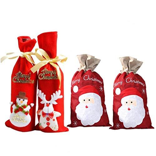 OMMO LEBEINDR 2 Stück Non-Woven Weihnachten Weinflasche Dekor Feiertags-Dekoration Red Tasche Netter Sankt-Entwurf Leinenbeutel Tragbare Kordelzug Beutel