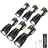 GIVERARE 6 PCS Tactical LED Flashlight, USB Rechargeable (Battery&USB Cable Included) Flashlights, Mini Super Bright Pen Light, Zoomable 3 Modes Handheld Torch for Cycling Hiking Camping Emergency