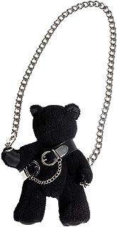 VALICLUD Black Bear Crossbody Shoulder Bag with Chain Strap Stuffed Animal Gothic Purses Handbags for Girls - S
