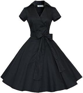 Letuwj Womens Lapel A-line V-Neck Dress