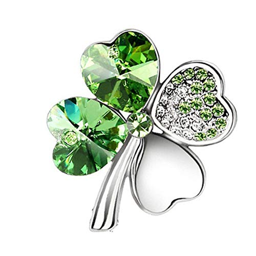 AILUOR Green Shamrock Silver Crystal Diamond Accent Four Leaf Clover Brooch Pins Rhinestone Lapel Pin for women, Gift Box (Green)
