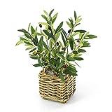 artplants.de Decorativo arbolito de Olivo en cesto de Mimbre - Pequeña olivera Artificial - Planta de plástico