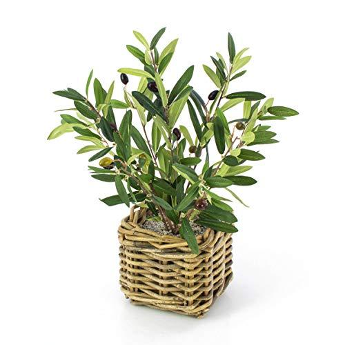 Decorativo arbolito de Olivo en cesto de Mimbre -Pequeña olivera Artificial/Planta de plástico - artplants