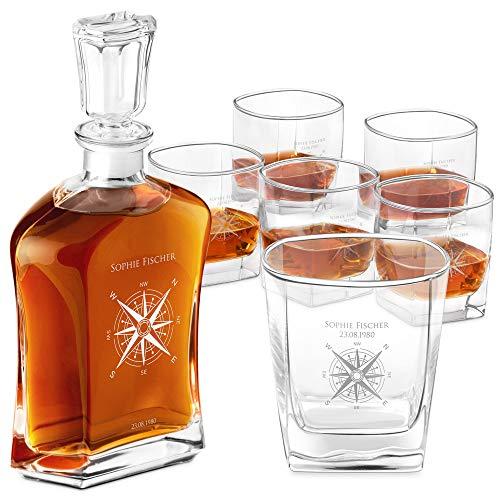 Murrano Whiskey Karaffe + 6er Whiskygläser Set mit Gravur - 700ml Whisky Dekanter - Geschenk zum Geburtstag für Damen - Kompass