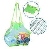 Abree Strand Aufbewahrung Tasche Netz Sandspiel Netztasche mit 6 Tasten für Sandspielzeug, Extra Große Familie Mesh Beach Bag Tote