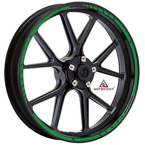 Autodomy Pegatinas Llantas Moto Juego Completo para 2 Llantas de 15' a 19' Pulgadas Diseño Sport (Verde)