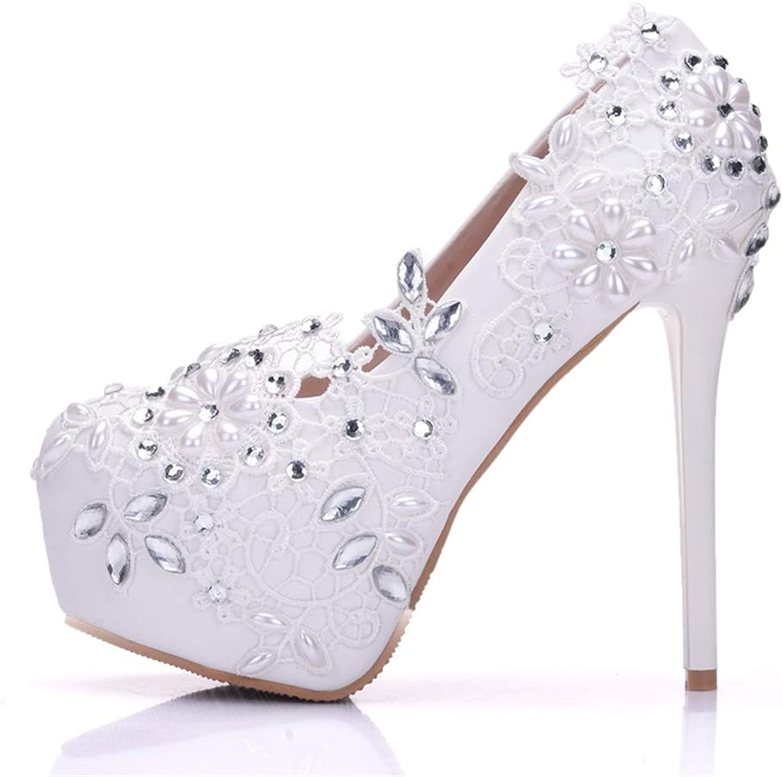 Women's Stiletto shoes Fashion PU White Lace Rhinestone Wedding shoes High Heels Waterproof Platform shoes Party & Evening,White,41
