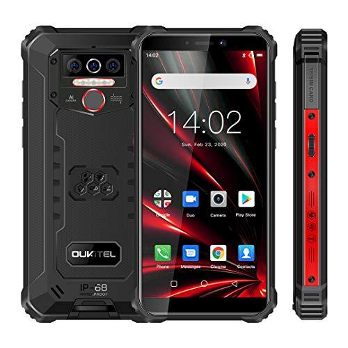 OUKITEL WP5 Pro Android 10.0, 4GB RAM+64GB ROM Movil Antigolpes, Batería Grande 8000 mAh Móvil Libre Resistente, 5.5 Pulgadas, Cámara Triple Telefono, Smartphone con 4 Linternas LED Súper Brillantes