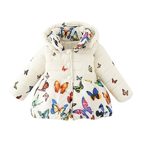 BOBORA Ropa De Invierno Niña De La Mariposa Bebé De Impresión De Dibujos Animados Moda Niña Abrigo De Algodón Engrosamiento Chaqueta