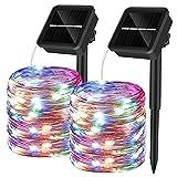 Yizhet 2 Piezas Guirnaldas Luces Exterior Solar,10M 100 LED Cadena de Luces Solares 8 Modos Guirnaldas Luminosas Solar...