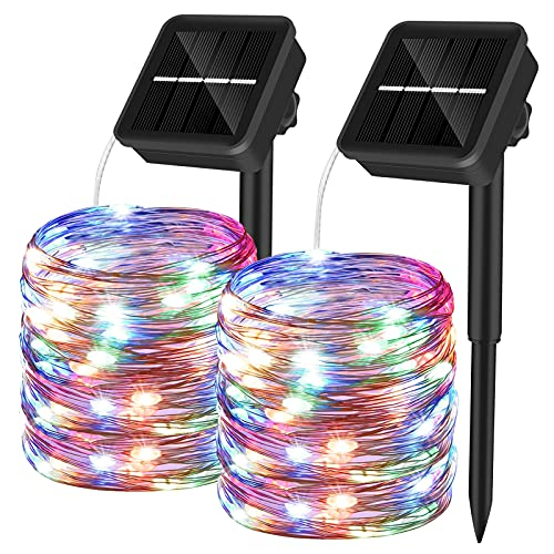 Yizhet 2 Piezas Guirnaldas Luces Exterior Solar,10M 100 LED Cadena de Luces Solares 8 Modos Guirnaldas Luminosas Solar Impermeable Decoracion para Navidad, Fiestas, Bodas, Jardines(Multicolor)