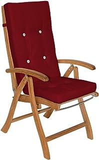 Deuba 6X Coussins de Chaise Rouge 100% Polyester pour Chaise à Dossier Haut Jardin extérieur